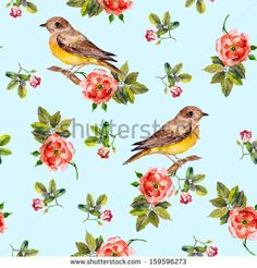 Light blue seamless pattern with dog roses and birds