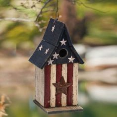 Americana Stars Wooden Bird House