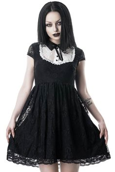 In a soft-stretch lace fabric for perfect fit and comfort. Complete with cap sleeve, contrasting yoke with decorative buttons and ribbon-bow, collar and generously flared skirt. Fully lined and zip Killstar Clothing, Stretch Lace Fabric, Goth Dress, Gothic Outfits, Edgy Outfits, Lace Babydoll, Alternative Fashion, Steampunk Clothing, Steampunk Fashion