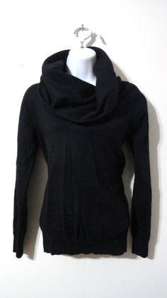 Gap Black Cowl Neck Sweater Top Shirt Rabbit Hair Bl. Cotton Small XS S #GAP #CowlNeck