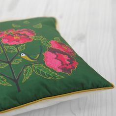 Diva Bara pillow with chickadee and peony flower Peony Flower, Flowers, Peonies, Fabric Design, Diva, Throw Pillows, Style Inspiration, Gifts, Home Decor
