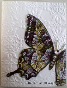 http://karentitus.com/stampin-up-swallowtail-butterfly-of-many-colors#   Swallowtail Butterfly Handmade Card.  Click through to see the video.