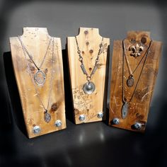 Necklace Display Jewelry Display  SET OF 3 Necklace Stand Wood Vintage Industrial. $99.00, via Etsy.