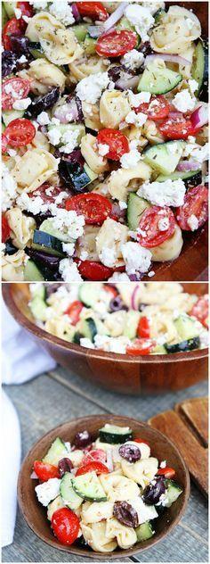 "Greek Tortellini Salad Recipe on <a href=""http://twopeasandtheirpod.com"" rel=""nofollow"" target=""_blank"">twopeasandtheirpo...</a> This salad is always a hit at potlucks! It is a family favorite!"