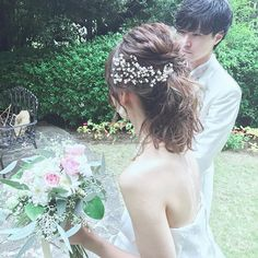From Parts Unknown Dress Hairstyles, Bride Hairstyles, Bob Hairstyles, Hair Design For Wedding, Wedding Styles, Wedding Tiaras, Hairdo Wedding, Hair Designs, Bridal Hair