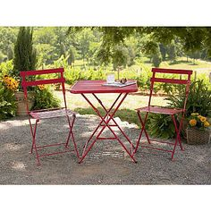 Red Steel Bistro chairs Sears. 35.99/ea