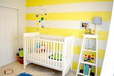 Yellow In The Nursery 5 Striped Walls Grey