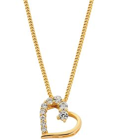 Buy 18ct Gold Plated Silver Cubic Zirconia Heart Pendant at Argos.co.uk - Your Online Shop for Ladies' necklaces.