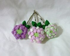 purple clover blossoms - tsumami kanzashi flowers - set of three. $28.00