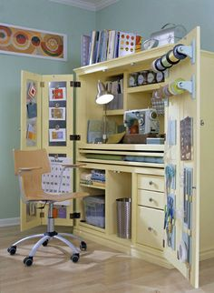 Turn an old TV cabinet into a craft cabinet! I may not be able to ever have a craft room, but I could have a craft cabinet :) Craft Armoire, Craft Cabinet, Sewing Cabinet, Tv Armoire, Craft Cupboard, Computer Armoire, Cabinet Ideas, Computer Desks, Armoire Redo