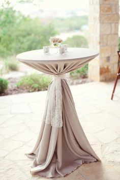"""The look of burlap and lace"" wrapped cocktail tables-thinking of Kate"