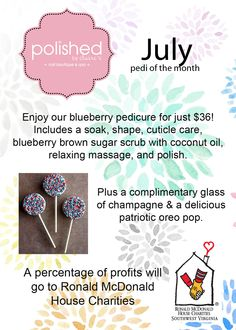 July pedi of the month supporting Ronald McDonald House 2014