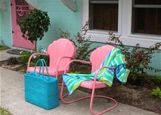 I found some vintage metal lawn chairs at the local antique store awhile back..one of my DIY summer projects will be painting them