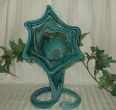 Vintage Murano teal blown glass vase
