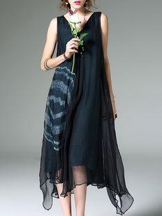 Seda sin mangas vestido de Midi asimétrico geométrica informal