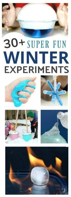 """30+ AMAZING WINTER EXPERIMENTS FOR KIDS!  These are """"so cool!"""" #winterscience #scienceforkids #winteractivitiesforkids"""