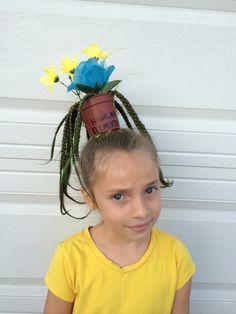 Crazy hair day at school- flower pot