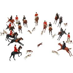 Vintage 28 Piece British Fox Hunt Hand Painted Figures | From a unique collection of antique and modern toys at https://www.1stdibs.com/furniture/more-furniture-collectibles/toys/