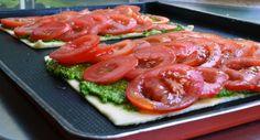 tomato tart with pistou style sauce