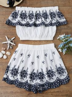 Love in Santorini Embroidered Two Piece Set