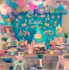 No photo description available. First Birthday Favors, Mermaid Theme Birthday, Little Mermaid Birthday, 6th Birthday Parties, Birthday Party Decorations, Deco Buffet, Shower Bebe, Mermaid Parties, First Birthdays