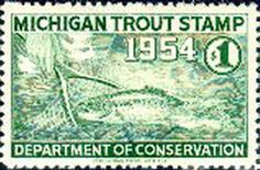 1954 Michigan Fishing Trout Stamp by UpNorth Memories - Donald (Don) Harrison, via Flickr