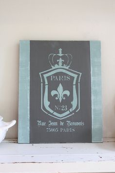 PARIS bois Cimier chic minable vintage signe/plaque