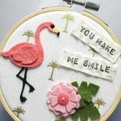 die cut felt flamingo embroidery hoop