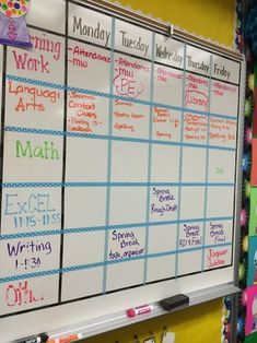 One of my teachers I worked with used this whiteboard with black tape to write the schedule on every day.  I thought it was great because she could separate each section and not have to erase the entire thing every day.  It was an excellent way for the students to keep track of the week and to keep a routine. Classroom Schedule, Classroom Calendar, School Schedule, School Calendar, Middle School Classroom, Preschool Classroom, Classroom Themes, Future Classroom, School Teacher