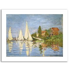 Regatta at Argenteuil by Claude Monet Painting Print on Rolled Wrapped Canvas