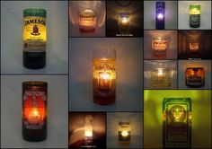 candles in recycled alcohol bottles