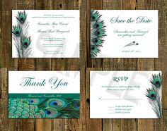 Wedding invitation custom personalized package - Peacock. $50.00, via Etsy.