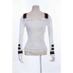 White Shoulder Straps Lace Shirt   please please please!!