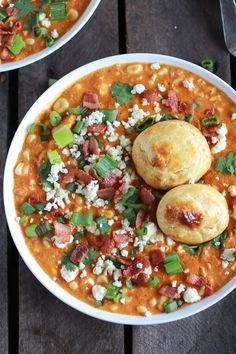 Buffalo Chicken Corn Chowder with Blue Cheese Gougères! The best corn chowder ever! Chili Recipes, Soup Recipes, Chicken Recipes, Dinner Recipes, Cooking Recipes, Yummy Recipes, Veggie Recipes, Gougeres Recipe, Gastronomia
