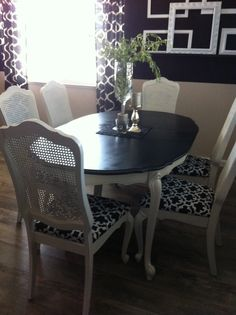 Black and white dining room almost done That fabric on the chairs!