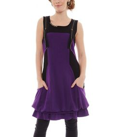 Another great find on #zulily! Purple Color Block Sleeveless Dress #zulilyfinds
