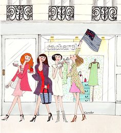 My Little Paris: a year ago, i was shopping in Paris with girls! Illustration Parisienne, Illustration Mignonne, Paris Illustration, Cute Illustration, Cute Little Drawings, Pretty Drawings, Little Paris, Rainy Day Crafts, Tokyo