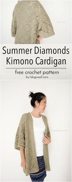 Free crochet pattern for a light summer cardigan, featuring a simple diamond motif.   1dogwoof.com