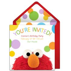 Customizable, free Elmo online invitations. Easy to personalize and send for a Elmo birthday party. #punchbowl