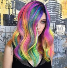 Long rainbow hairstyle by Guy Tang