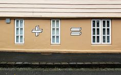 Aakash Nihalani incorporates his signature 3D style forms into urban environments to work as simple (and clever!) math problems. For example, one window + one window = two windows.