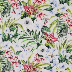 Cotton Voile Tropical Flowers