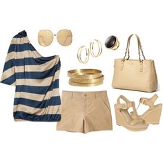 Khaki Gold and Navy, created by luckaty.polyvore.com