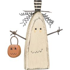 Chunky Ghost Sitter Holding Pumpkin Basket Halloween Wood Figurine ❤ liked on Polyvore featuring home, home decor, holiday decorations, wooden figurines, wood figure, halloween home decor, halloween figurines and wood figurines