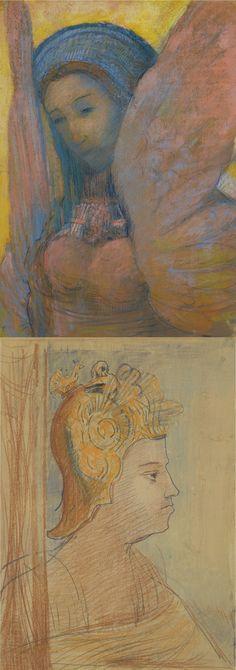 Odilon Redon (1840-1916) recto- Sphinx, verso- Guerrier (52 by 36,5 cm)