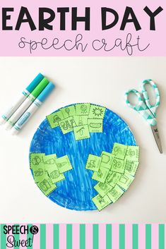 Earth Day Speech Therapy Craft! This is a cute and simple activity for spring! This craft can address articulation, apraxia, fluency, or language! #earthday #craft #speechtherapy