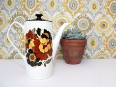 Vintage 1970s China Coffee Pot with Brown & Ochre Retro Flower Design