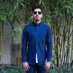 Regular Shirt - Flannel Plaid Indigo