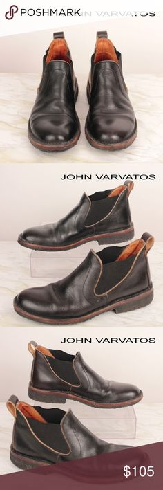 Handmade Leather Pull On Booties Round Toe VGC S15 JOHN VARVATOS Mens Black Leather Round Toe Ankle Pull On Boots Size SZ 8.5 M  Leather upper Pull-on style Leather lining Hand made in Italy Condition: Very Good  - Conditioned and polished! From a smoke and pet free environment. CSKU: S15 John Varvatos Shoes Boots