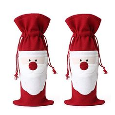 Aomoza 1pcs Santa Claus Wine Bottle Cover Bag Christmas Dinner Party Xmas Table Decoration >>> Click on the image for additional details.